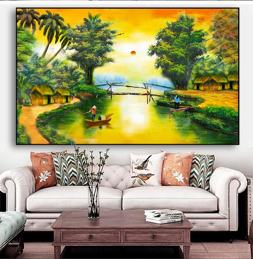 Bức tranh phong cảnh đẹp làng quê Việt Nam