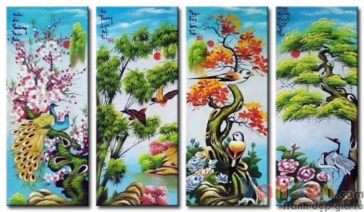 Tranh phong cảnh đẹp bốn mùa phong thủy